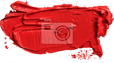 Fototapete Textured red oil paint brush stroke,convex with shadows, eps 10 vector illustration isolated on transparent background