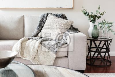 Fototapete Texturierte Schichten Interieur Styling von Kissen Sofa und werfen in nuetral Farben