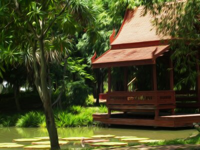 Thai-Haus / Ölgemälde-Fotoeffekt