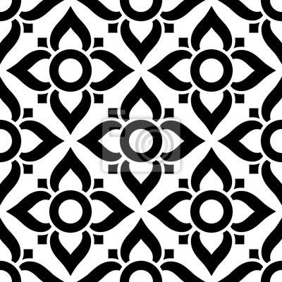 Thai Nahtlose Muster Mit Blumen Schwarz Weiss Fliesen Inspiriert