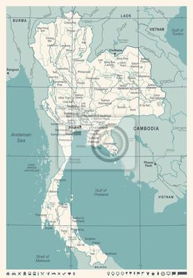 Thailand Karte.Fototapete Thailand Karte Weinlese Vektorabbildung