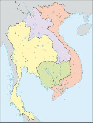 Karte Thailand Kambodscha.Fototapete Thailand Vietnam Laos Kambodscha