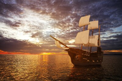 Fototapete The ancient ship in the sea