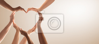 Fototapete The concept of unity, cooperation, teamwork and charity.