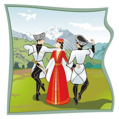 Fototapete The dance Lezginka, Dances of the of the North Caucasus. Two men and one woman dancing on the grass Ossetian lezginka. In the background mountains, vector illustration