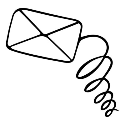 The letter arrived. The envelope and the spring. Email. Private message. Vector illustration. Outline on an isolated white background. Doodle style. Sketch. Business correspondence. Notice. SMS.