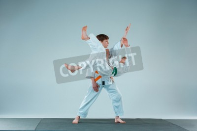 405f644fd4326 Fototapete The two boys fighting at Aikido training in martial arts school. Healthy  lifestyle and
