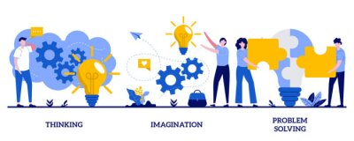 Fototapete Thinking, imagination, problem solving concept with tiny people. Brain activity abstract vector illustration set. Brainstorming, idea and fantasy, motivation and inspiration, find solution metaphor