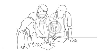 Fototapete three coworkers discussing project on paper - one line drawing