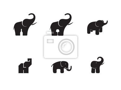 Tier Elefanten Logo Symbol Symbol Emblem Vorlage Versionen Gesetzt