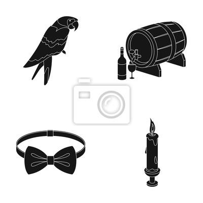 Fototapete Tier, Kleidung Und Web Symbol In Schwarz Style.alkohol,  Beleuchtung Symbole