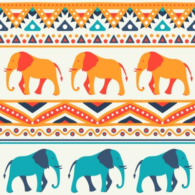Fototapete Tier nahtlose Vektor-Muster von Elefanten