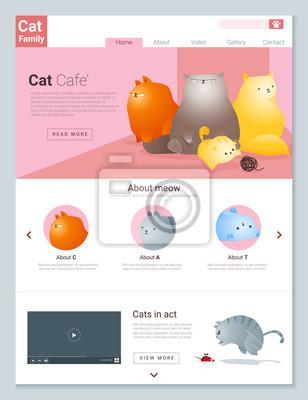 Tier-website-vorlage banner und infografik mit cat geschichte ...