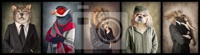 Fototapete Tiere in Kleidung.  Konzeptgrafik im Weinlesestil.  Wolf, Vogel, Löwe, Hund, Elefant.