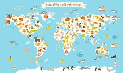 Fototapete Tiere Weltkarte. Bunte Cartoon-Vektor-Illustration für Kinder und Kinder. Vorschule, Bildung, Baby, Kontinente, Ozeane, gezeichnet, Erde