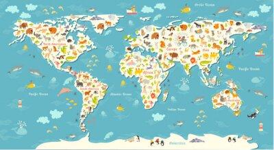 Fototapete Tiere Weltkarte. Schöne fröhliche bunte Vektor-Illustration für Kinder und Kinder. Mit der Aufschrift der Ozeane und Kontinente. Vorschule, Baby, Kontinente, Ozeane, gezeichnet, Erde