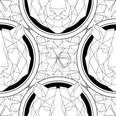Tierkopf dreieckige ikone, geometrische muster modische linie ...