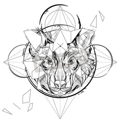 Tierkopf dreieckige ikone, geometrisches modisches linienentwurf ...