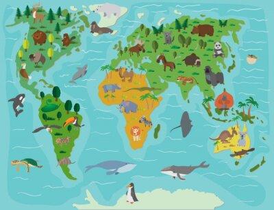 Fototapete Tierwelt. Lustige Karikaturkarte