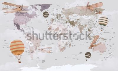 Fototapete Tierweltkarte für Kinder Wallpaper Design