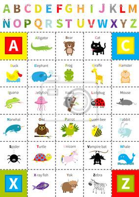 Tierzoo-Alphabetplakat. Briefe mit Augen. Cute Cartoon Zeichensatz. Isoliert. Weißer Hintergrund Flaches Design. Baby Kinder Bildung. Alligator Bär Katze Ente Elefant Frosch Giraffe Hamster Leguan