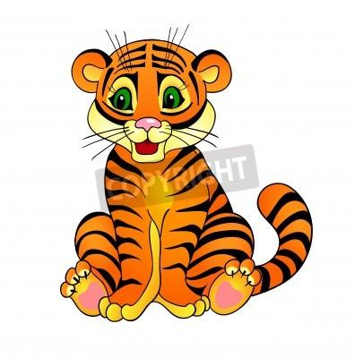 Fototapete tiger cartoon, mit Lokalisierung auf einem weißen Hintergrund
