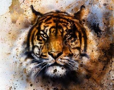Fototapete Tiger Collage auf Farbe abstrakten Hintergrund, Rost Struktur, Tierwelt Tiere, Blickkontakt.