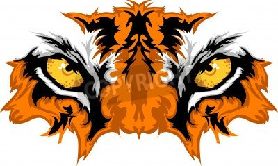Fototapete Tiger Eyes Mascot Graphic