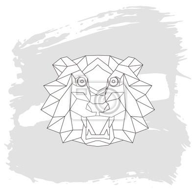 Tiger kopf dreieckige ikone, geometrische muster trendy line-design ...