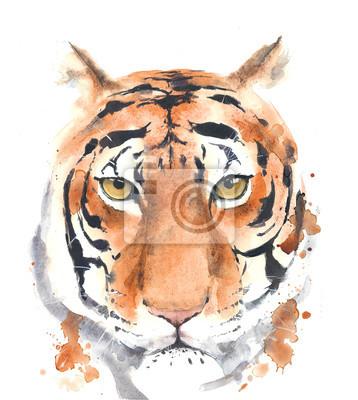 Tiger Kopf Porträt Aquarell Malerei isoliert auf weißem Hintergrund