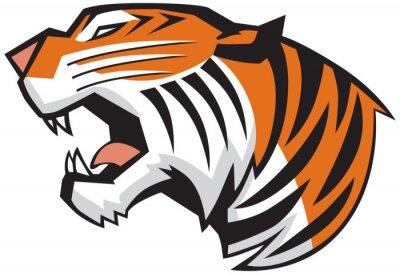Fototapete Tiger-Kopf Roaring Seitenansicht Vector Graphic