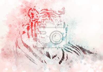 Tiger Porträt Aquarell