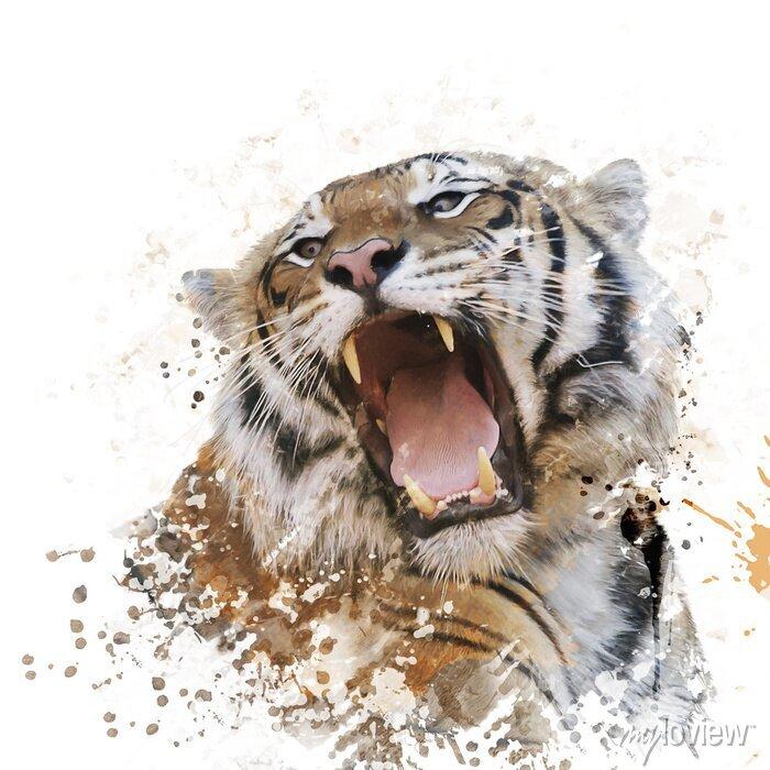 Fototapete Tiger-Porträt-Aquarell