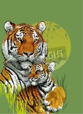 Fototapete Tiger und Baby-Tiger im Dschungel