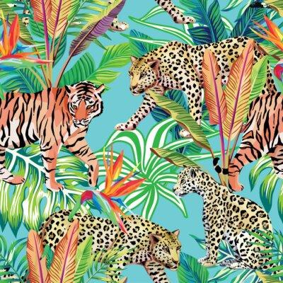 Fototapete Tiger und Leoparden im Dschungel nahtlose Hintergrund