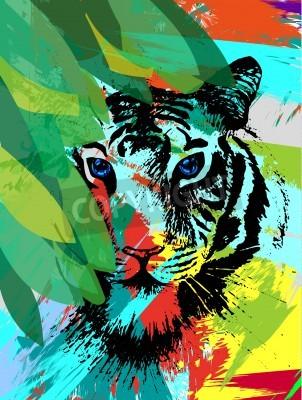 Fototapete Tiger unter leafes im Vektor