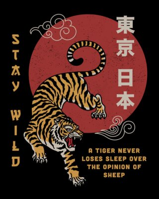 Fototapete Tiger with Stay Wild Slogan and Japan Tokyo Words in Japanese
