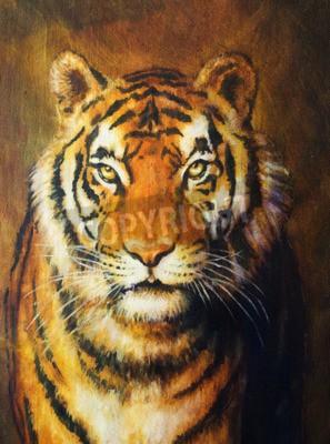 Fototapete Tigerkopf, FarbenÖlgemälde auf Segeltuch