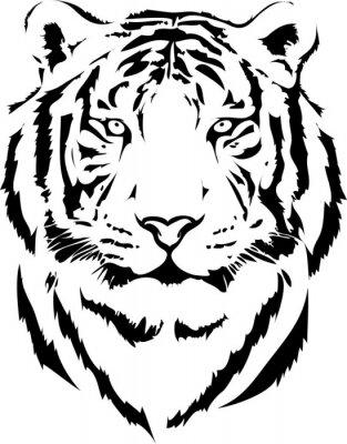 Fototapete Tigerkopf in schwarz Interpretation 2