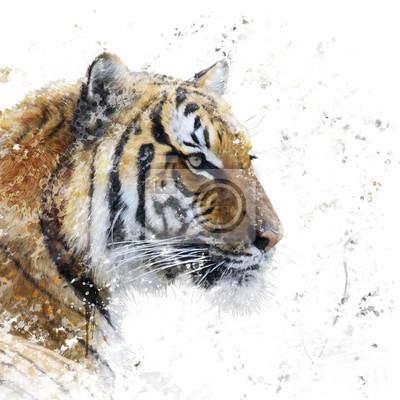 Tigerporträt Aquarell