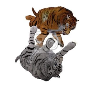tigre tigre blanc contre Orange