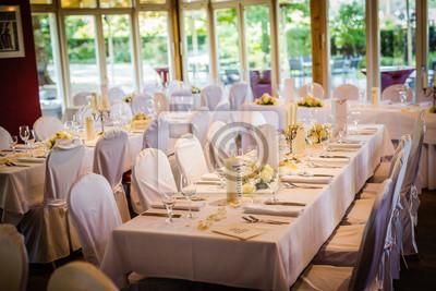 Tischdekoration Auf Einer Hochzeit Fototapete Fototapeten