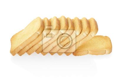 Toast oder Zwieback auf weiß, Clipping-Pfad enthalten