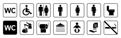 Fototapete Toilet icons set, toilet signs, WC signs collection, restroom – stock vector