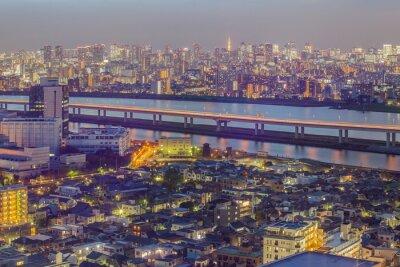 Fototapete Tokyo Stadtansicht mit Tokyo-Turm in der Dämmerung