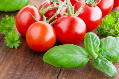 Fototapete Tomaten und Basilikum