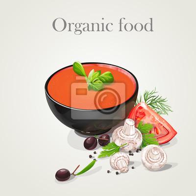 Tomatensuppe mit frischem Gemüse.