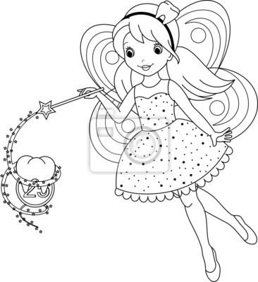 Tooth fairy coloring page fototapete • fototapeten transformieren ...