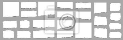 Fototapete Torn sheets of paper. Torn paper strips set. Vector