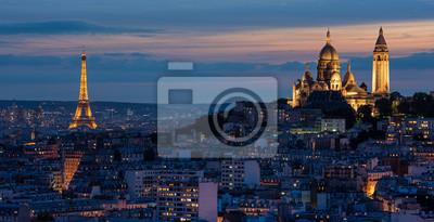 Fototapete Tour Eiffel et Sacré Coeur au couché de soleil